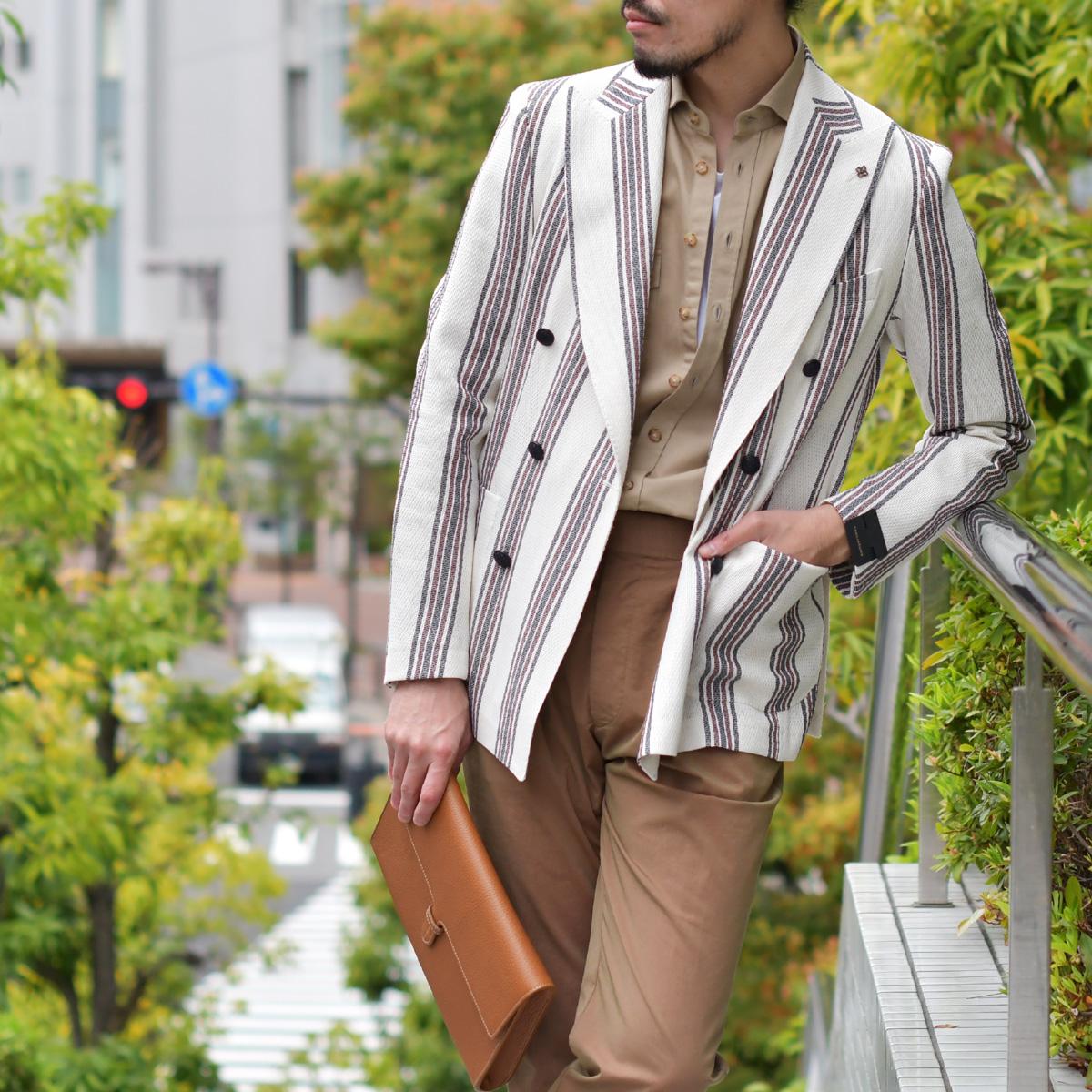 春らしい爽やかな雰囲気が感じるストライプジャケット!TAGLIATORE【タリアトーレ】